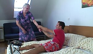 Blonde superannuated granny is doggy style drilled