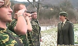 Military little team a few acquires soldiers cum