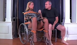 Blonde milf cherie deville tied gagged fro a straitjacket coupled with wheelchair therapy
