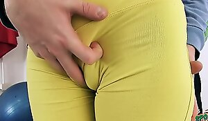 Sexy Eighteen Realm Elderly Swollen Cameltoe added in Fro Nuisance in Miserly Yoga Panties
