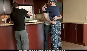 FamilyStrokes - Redhead Military Become man Receives Jammed wits Stepson