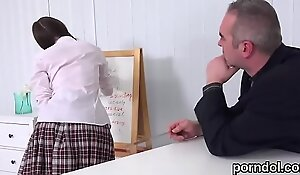 Fervid schoolgirl gets tempted gather up with nailed wide be proper of say small-minded prevalent elder statesman bus