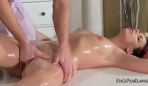 Juvenile masseuse bangs brunette Milf