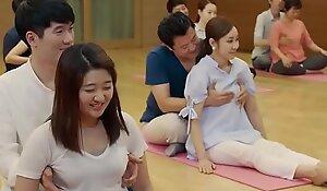 Side-splitting yoga art added to jugs grabbing