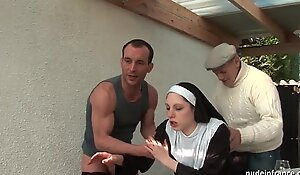 Young french nun screwed hard in three-some with papy voyeur