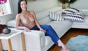 Raven-haired beauty with natural boobs gets deeply fucked in POV
