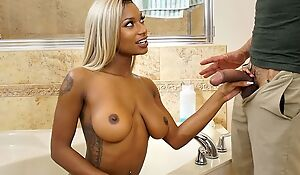 Blonde-haired ebony with natural boobs shagged in the bathroom