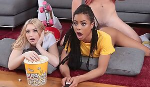 Two naughty young babes fucked at the slumber party