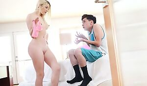 Pale blondie with small cans pleasuring skinny boy in bed