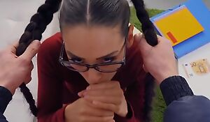 Beautiful college girl with glasses gets boned in POV