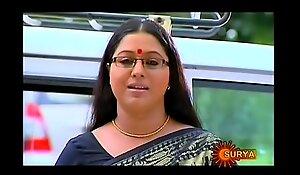 Mallu Serial Actress Lakshmi Priya Navel Through Saree
