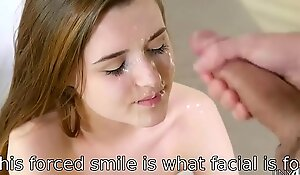 This kind of forced smile is what facial cumshot is for!