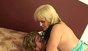 Blonde 70 years old granny connected with pantyhose