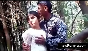 Most Beautiful and cute Indian girl kiss and boob pressed wide of bf at jungle at newPorn4u porn