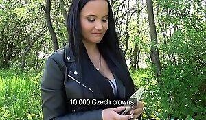Public Agent Sticky facial for bosomy hawt Czech legal age teenager farther down than railway bridge