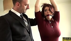 Well-endowed redhead bide one's time clipped coupled with facefucked