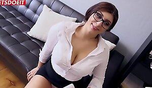 Innocent Teen Secretary Spanks Her Big Tits With Huge Cock