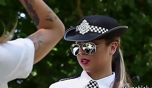 Clothed policewoman babes suck