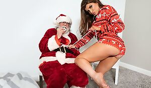 Rebellious porn star fucks her lover in front of Santa