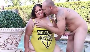 Horny BBW with huge ass gets properly fucked by the pool